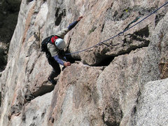 Rock Climbing Photo: Scott Henderson on the 2nd P crack.