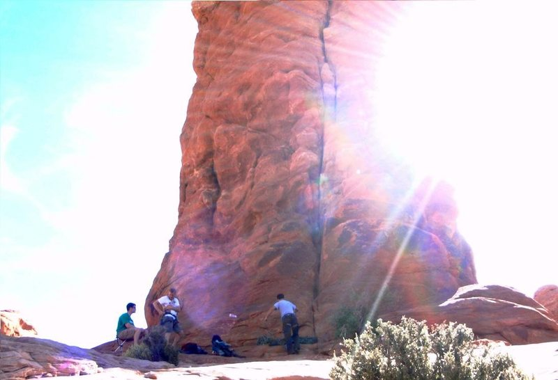 Rock Climbing Photo: i love sunbursts, couple of boys preparing for our...