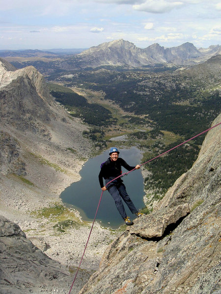 Rapping off Wolf's Head - Shadow Lk & East Fork peaks in the background