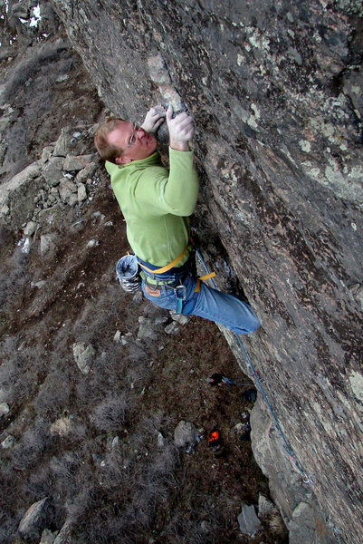 Brandon, through the crux<br> March 2007, photo by Adam Peters.