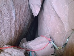 "Rock Climbing Photo: The ""hole"" at the top of Pitch 3....empt..."