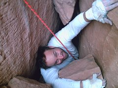 Rock Climbing Photo: That's 215 lbs. of fun making it through that sque...