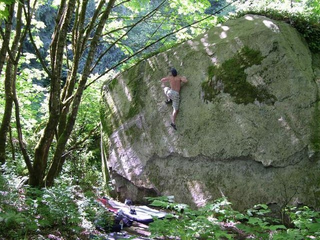 Rock Climbing Photo: Picture proof that this boulder was cleaned!
