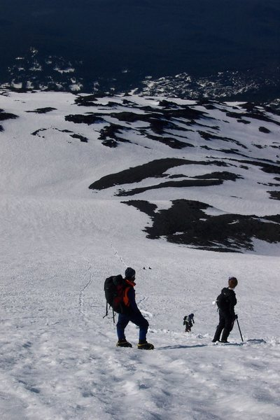 Rock Climbing Photo: Looking down at the snow that continues to the tra...
