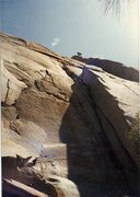 Rock Climbing Photo: Me high up on the Kernville Slabs 80's