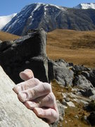 Rock Climbing Photo: Somewhere high on Spittle hill is this nice V5 slo...