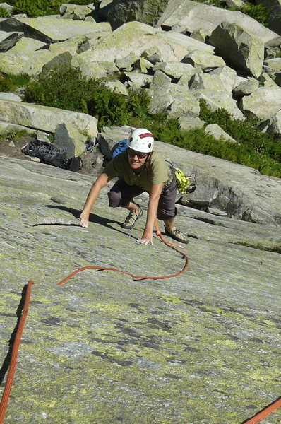 "Rock Climbing Photo: Julie follows ""Zizigutti"" (5c)"