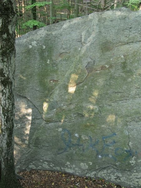 """The south face of """"New Testament"""" rock. (This is the middle section)"""