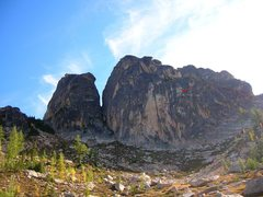 Rock Climbing Photo: Heading up the couloir and left to the start of th...