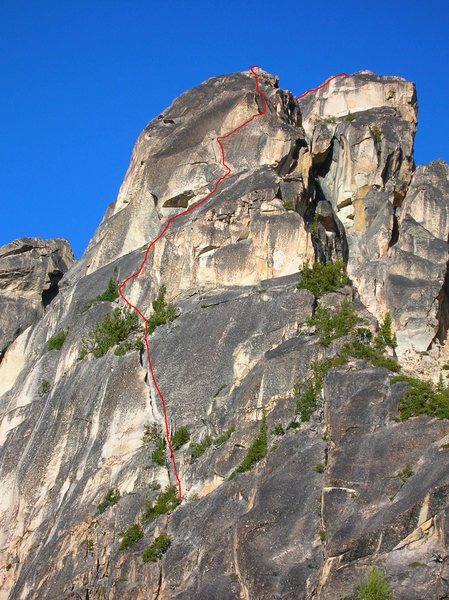 Rock Climbing Photo: The route.  Bear-hug pitch visible, as well as the...