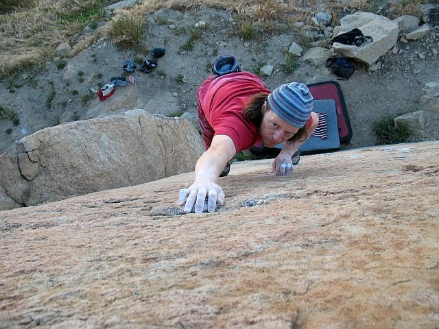 Nearing the top of the highball Triangle Face (V1), Mt. Rubidoux