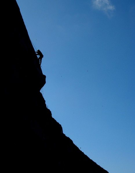 Rock Climbing Photo: Working on a new route at Slab City, Riverside Qua...