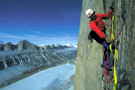 One of the greatest climbers ever, and a top favorite of mine, Alex Lowe on Sail Peak, Baffin Island.