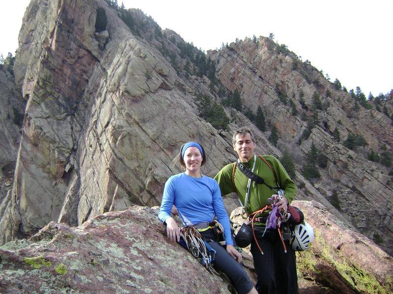 Dave Pyatt and Niccole Morneau at the top of Hair City in Eldorado Canyon