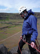Myself on belay at top of Chimney at Horsethief Butte, WA