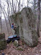 Rock Climbing Photo: Dobbe hiking up the foot.