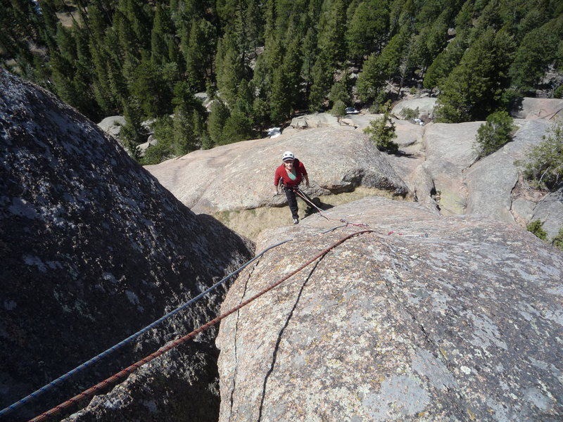 Rock Climbing Photo: Third pitch below the crux section.
