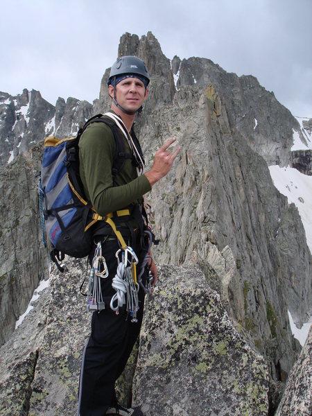 Travis Brock on top of Lone Eagle Peak.