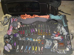 Rock Climbing Photo: My current rack (minus some christmas presents)