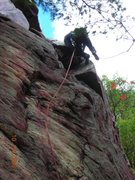 Rock Climbing Photo: Pulling through the cool little roof at 2/3 height...