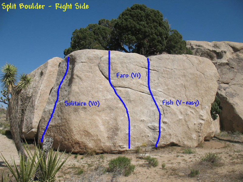 Photo/topo for Split Boulder (Right Side), Joshua Tree.