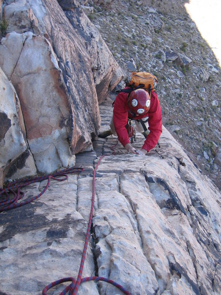 Rock Climbing Photo: Looking down the first pitch.