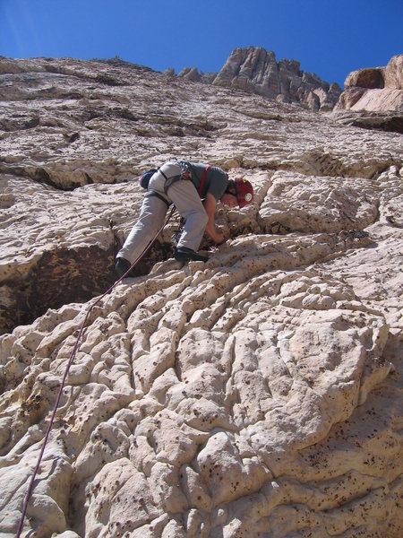 Rock Climbing Photo: The bizarre rock on pitch 2.