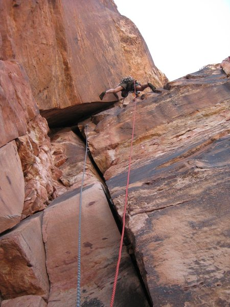 Rock Climbing Photo: Doing the splits on Commuted Sentence.  4/29/09