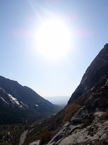 View down Little Cottonwood Canyon from the start of the second pitch.