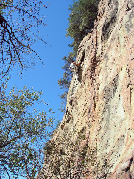 Rock Climbing Photo: Christy at the crux of Two Stone Wipe