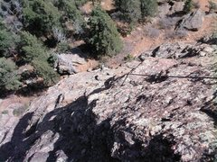 Rock Climbing Photo: Mike Houston at the third crux, just below the fir...