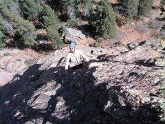 Rock Climbing Photo: Mike Houston enjoying the easier climbing to the u...