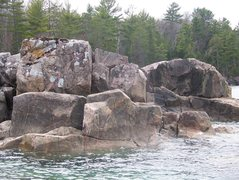 Rock Climbing Photo: ledge block (left) and traverse boulder (right)