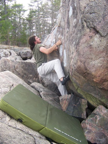 Rock Climbing Photo: On the start of the center route on ledge block