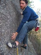 Rock Climbing Photo: Leading at the top of the route