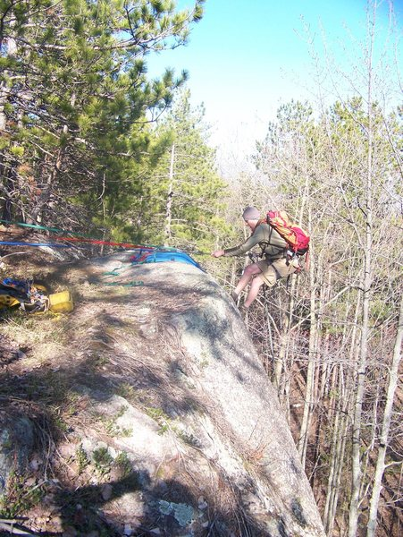 Rock Climbing Photo: zack rapping from the toprope setup