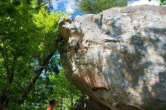 Rock Climbing Photo: Sizing up Rock Till You Drop, a really fun route a...