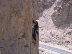 Rock Climbing Photo: J. Howland sightseeing at the 2nd bolt. Erin Neff ...