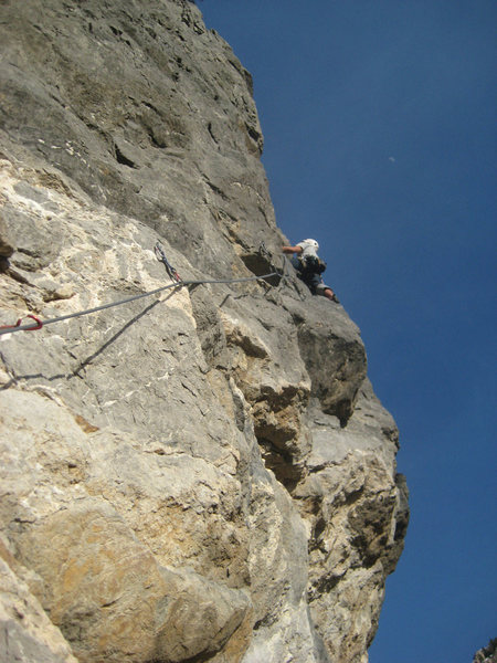 Rock Climbing Photo: Me heading out on the ridiculously exposed third p...