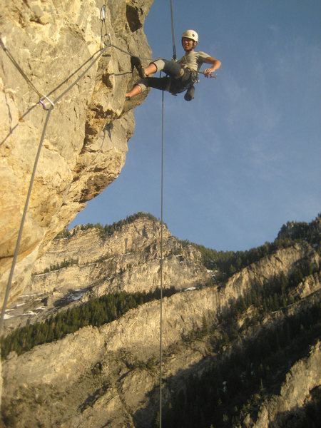 Me rappelling down pitch three.