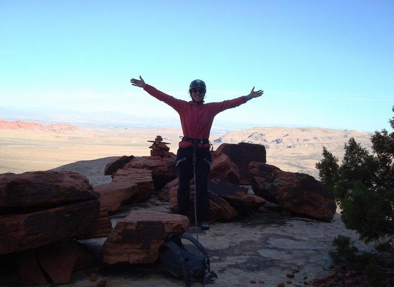 Rock Climbing Photo: On top of Dark Shadows, Nov 2008, photo by Joe Vit...