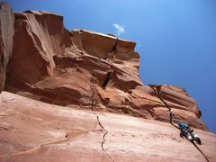 Rock Climbing Photo: Climber starting up the Lightening Bolt Cracks.  N...