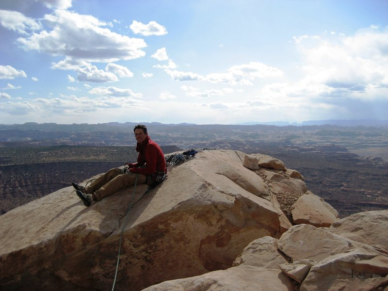 Rock Climbing Photo: Jordon on summit of North Sixshooter Peak.  April ...