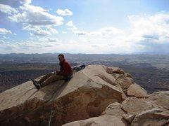 Rock Climbing Photo: Jordon on summit of North Sixshooter Peak.  April ...