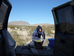 Rock Climbing Photo: gourmet meals in the desert...PBR gives it that ex...