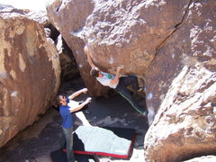 Rock Climbing Photo: near the crux on this chalked up masterpiece. the ...