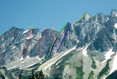 Rock Climbing Photo: Photo topo of the Salal Creek Walls of Mt Athelsta...