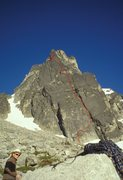 Rock Climbing Photo: The line of Lillarete's lower pitches as seen from...