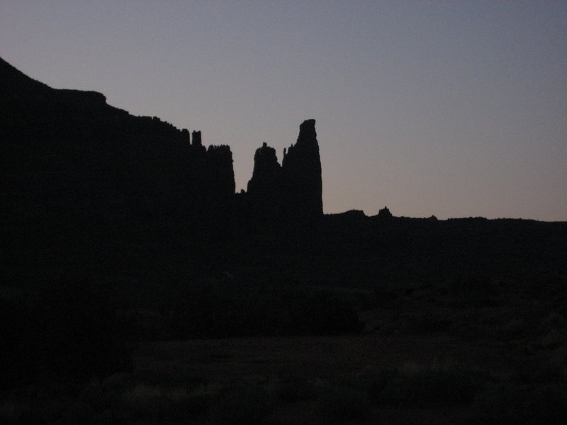 Fisher Towers from the river camp- early morning.  April 2009.
