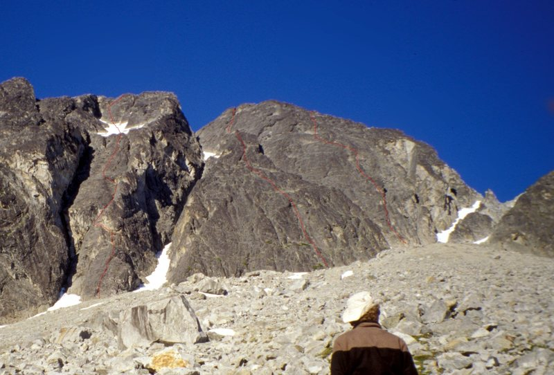 Rock Climbing Photo: Fantastic Wall from the bivi site. Left to right: ...